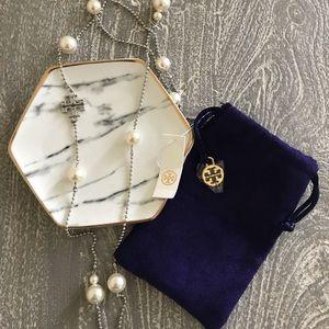NWT Tory Burch Milgrain Pearl Rosary